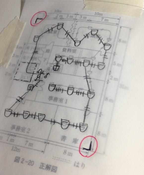 製図問題を解いたトレーシングペーパを正解図に貼って答え合わせをしてみる。
