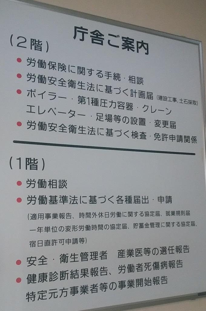 労働基準監督署入口の案内。