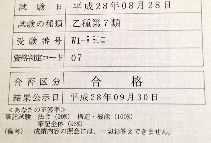 消防設備士乙種第7類の試験結果。トータル1問ミス。