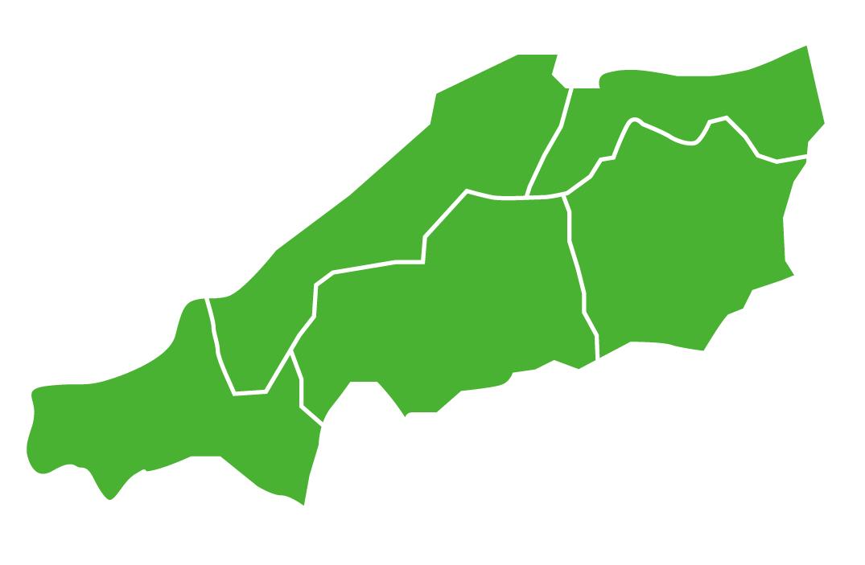 中国地方の地図のイメージ。
