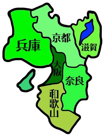 関西地方の地図のイメージ。